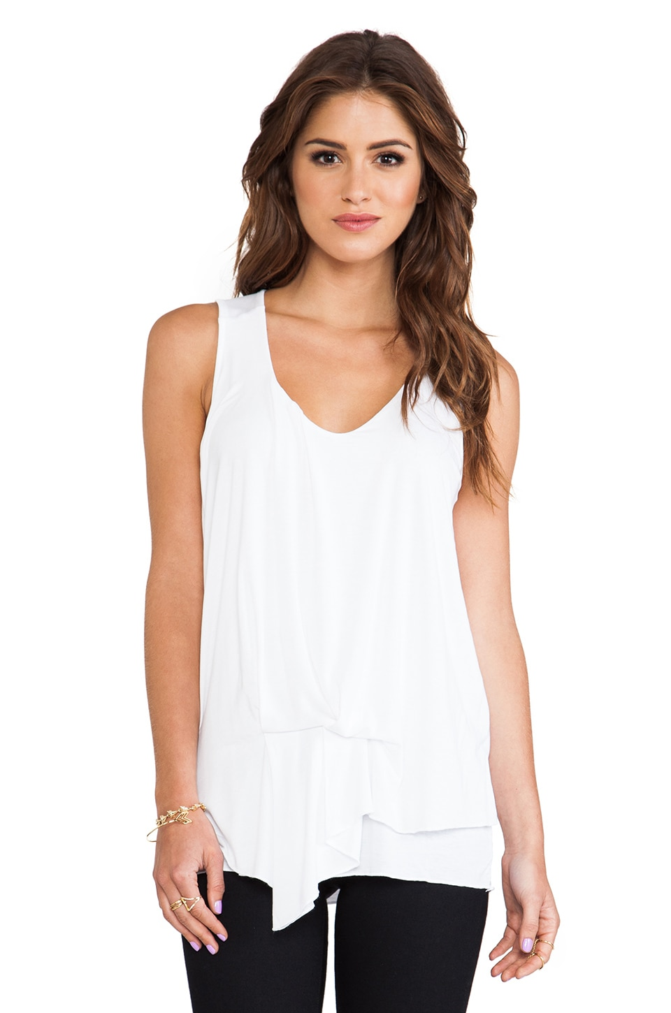 Michael Stars Side Waist Drape V Neck Tank in White