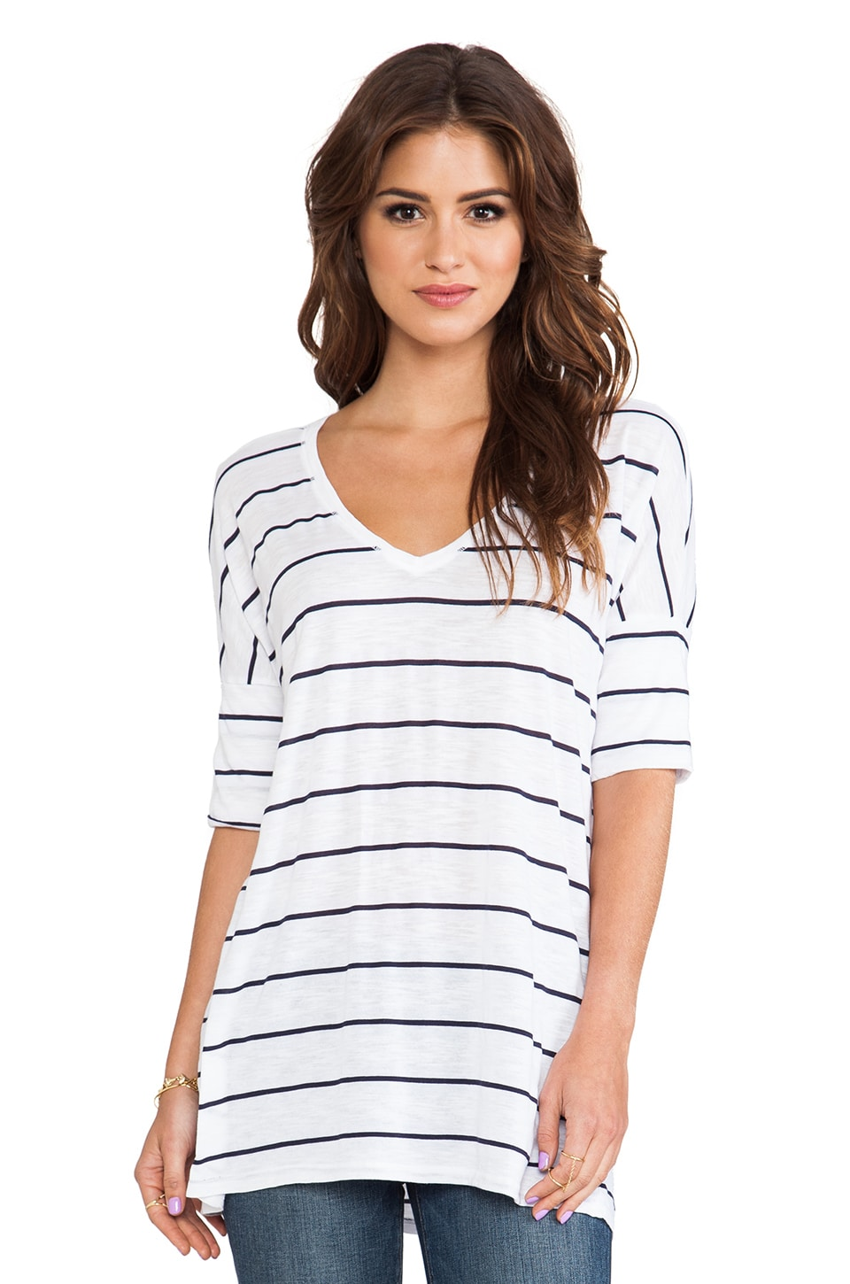 Michael Stars Cuffed Sleeve V Neck Top in White