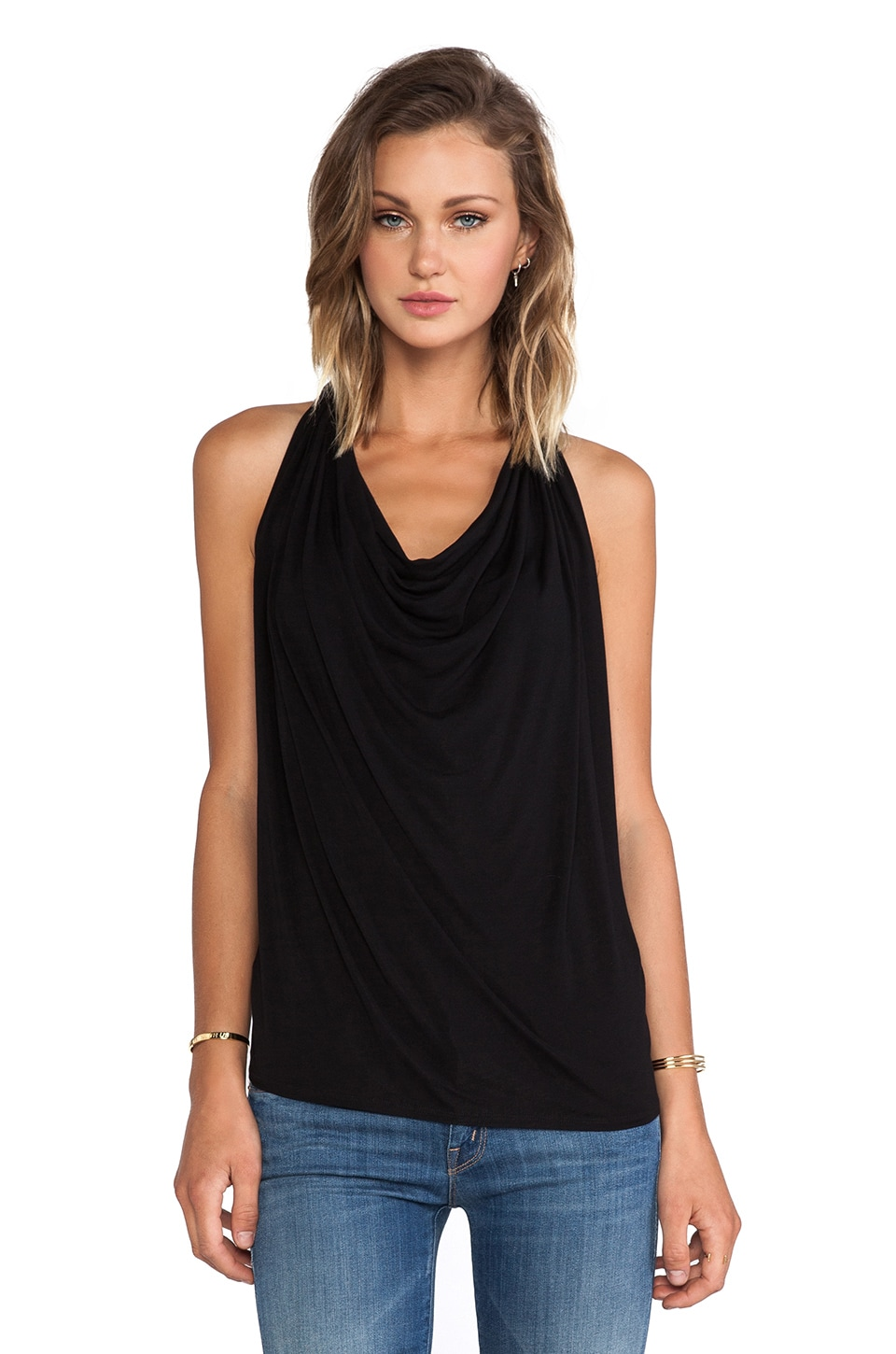 Michael Stars Draped Tank in Black