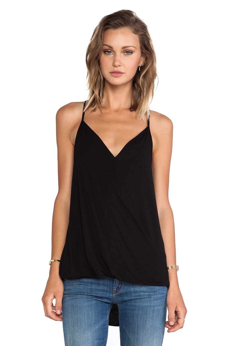 Michael Stars Surplice Cross Back Cami in Black