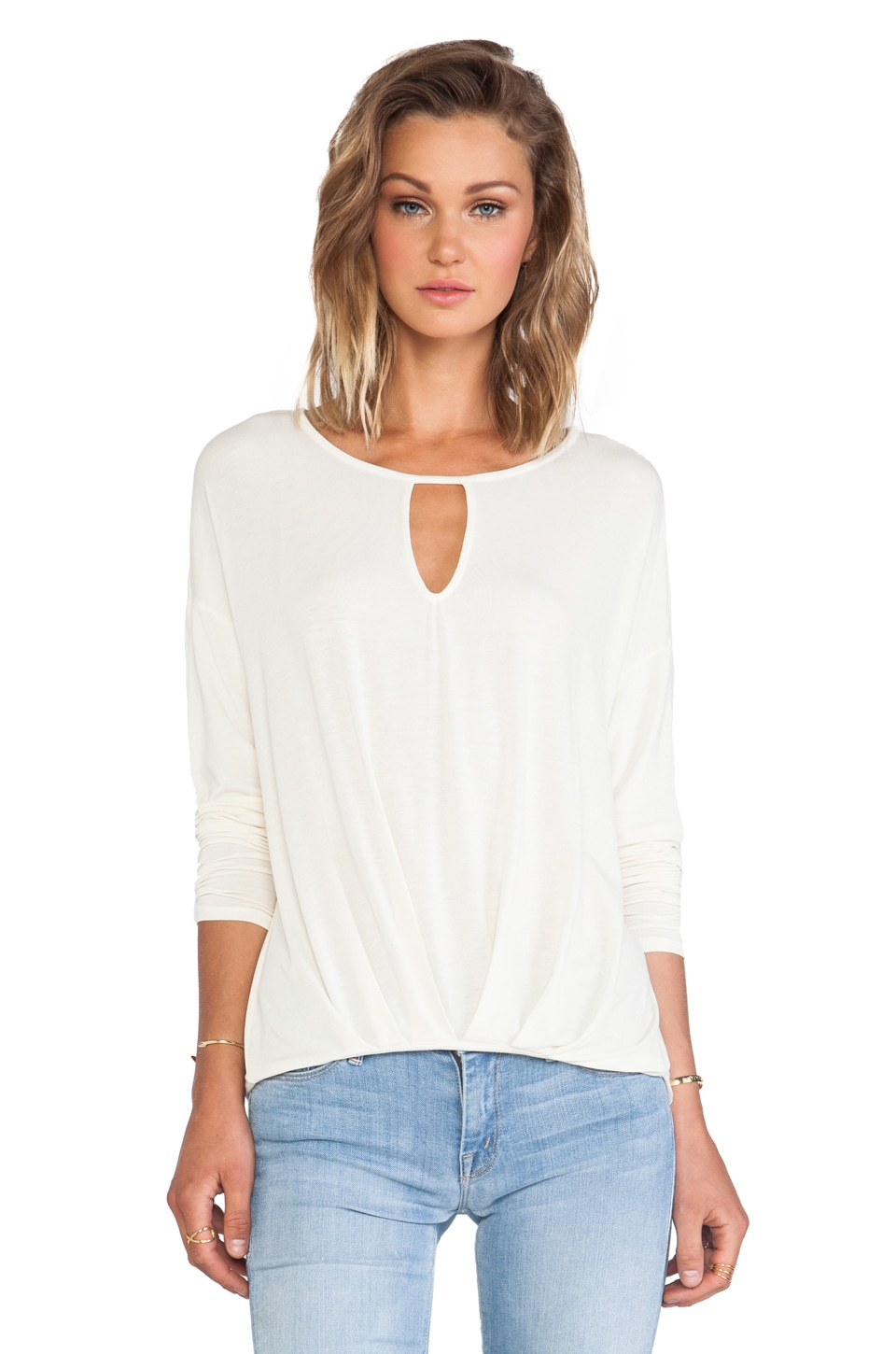 Michael Stars Long Sleeve Keyhole with Pleated Hem in Ivory