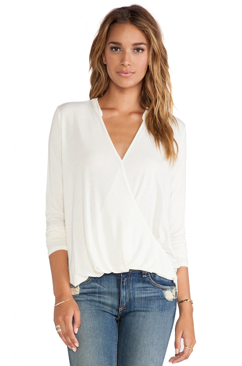 Michael Stars Long Sleeve Surplice Top in Ivory