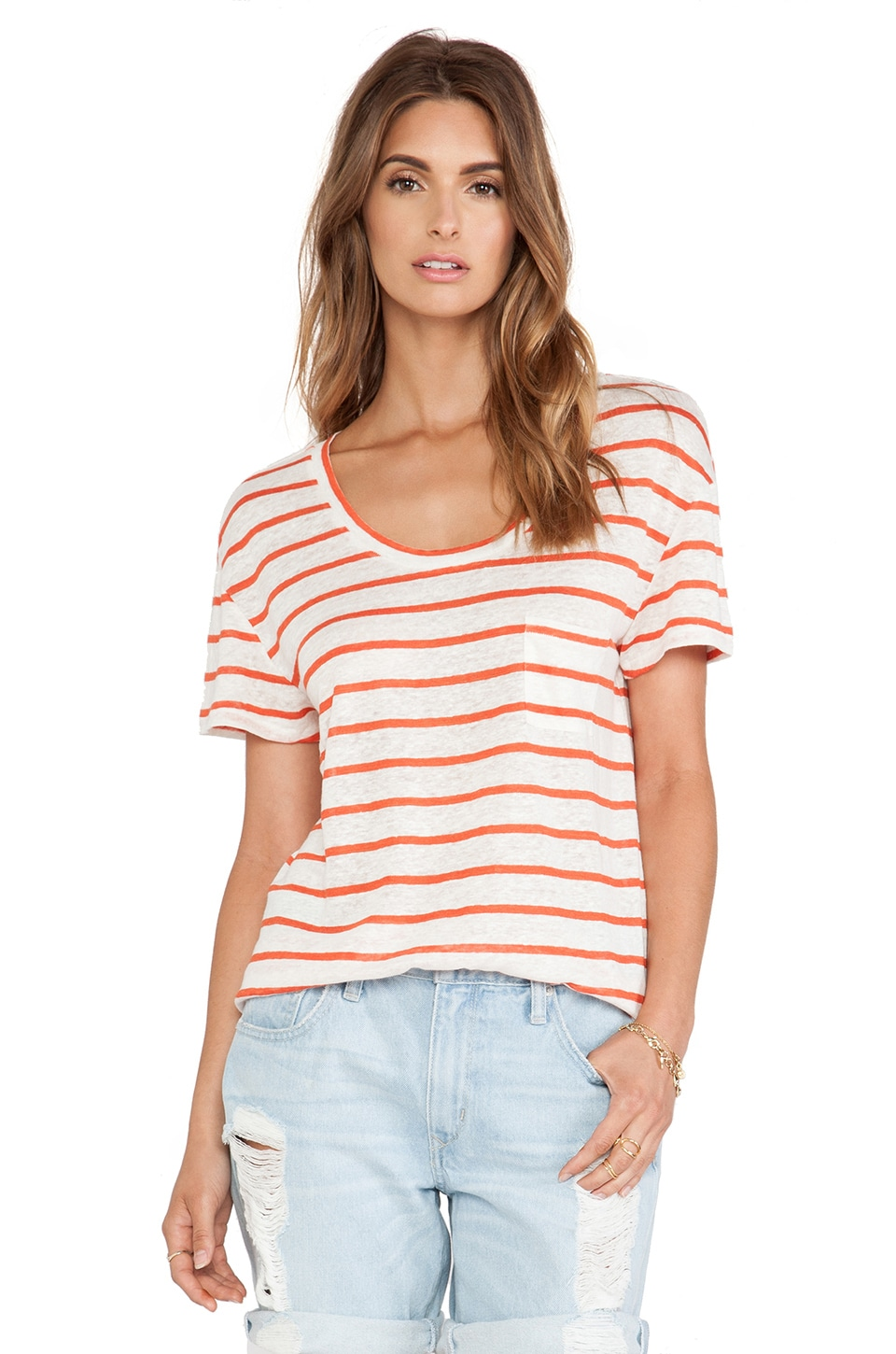 Michael Stars Scoop Neck Tee Stripe in Tomato