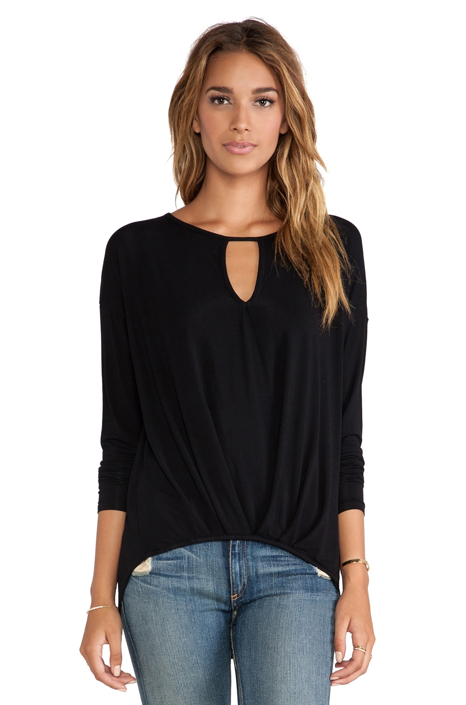 Michael Stars Long Sleeve Keyhole with Pleated Hem in Black