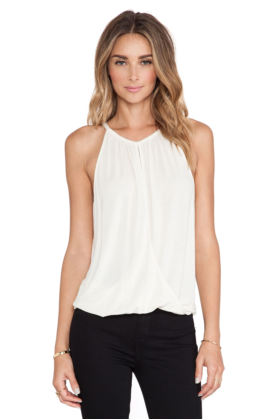 Michael Stars Sleeveless Keyhole High Low Halter Top in Ivory