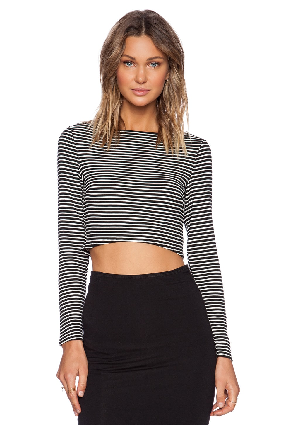 Michael Stars Long Sleeve Crop Top in Black & White