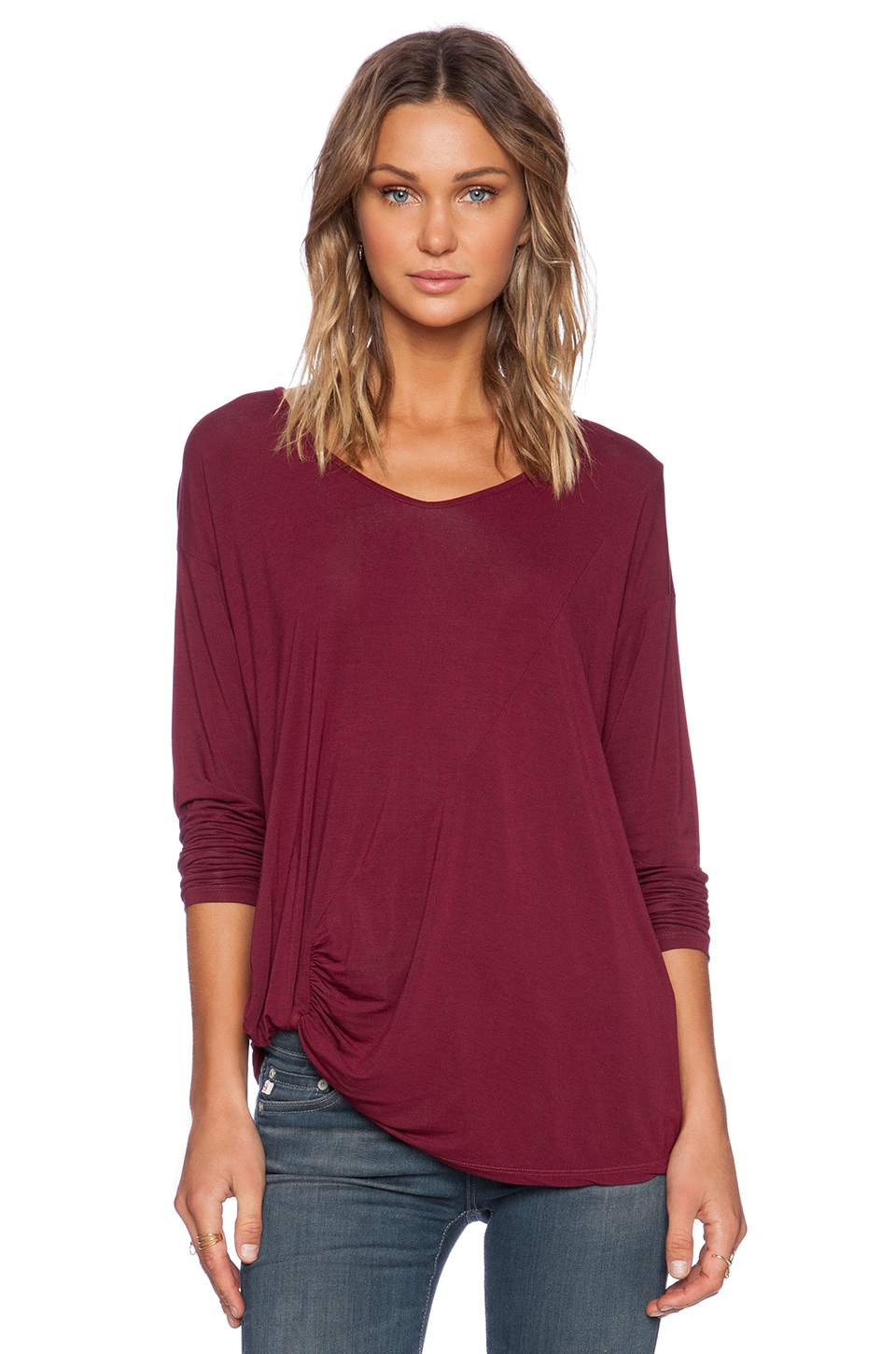 Michael Stars Long Sleeve with Side Twist in Garnet
