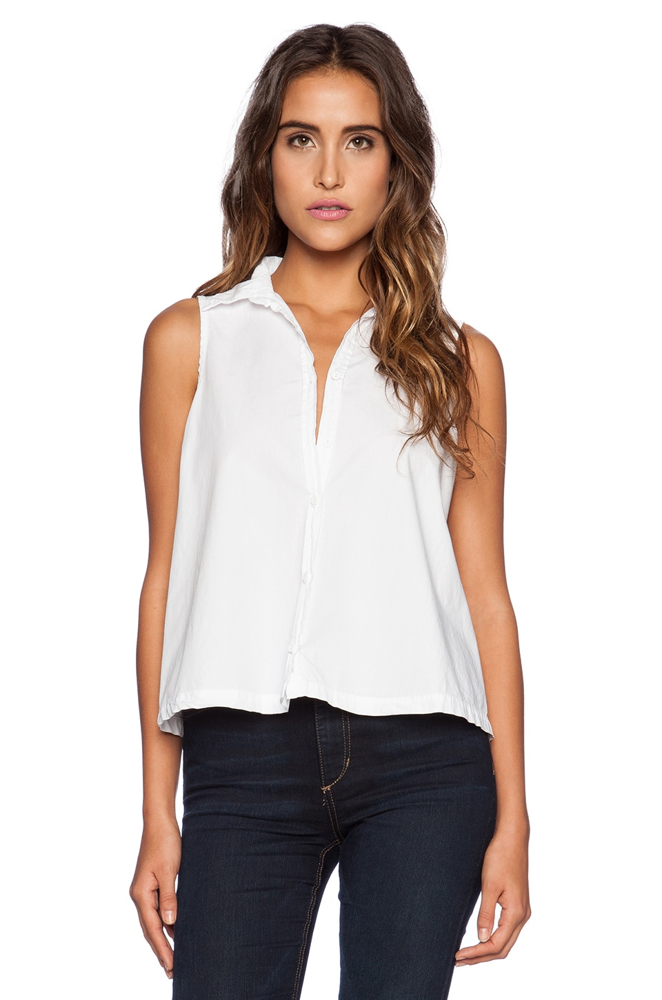 Michael Stars Sleeveless Button Up Crop Shirt in White