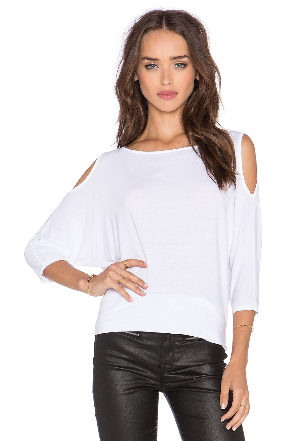 Michael Stars 3/4 Sleeve Cold Shoulder Tunic in White