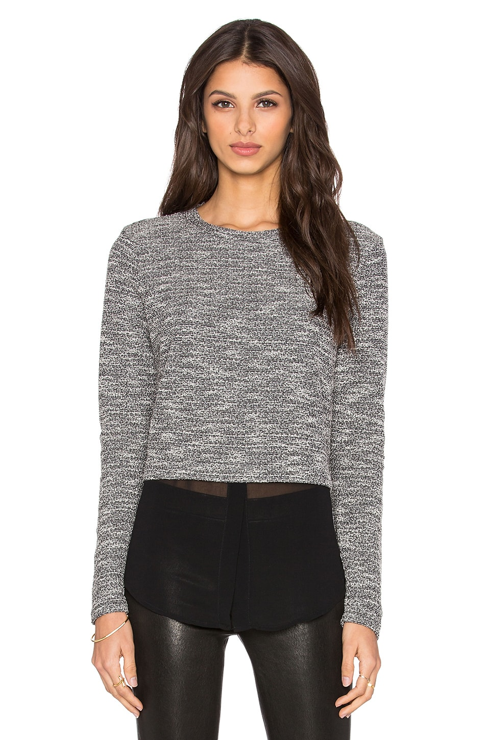 Michael Stars Chiffon Shirt Long Sleeve Top in Tweed