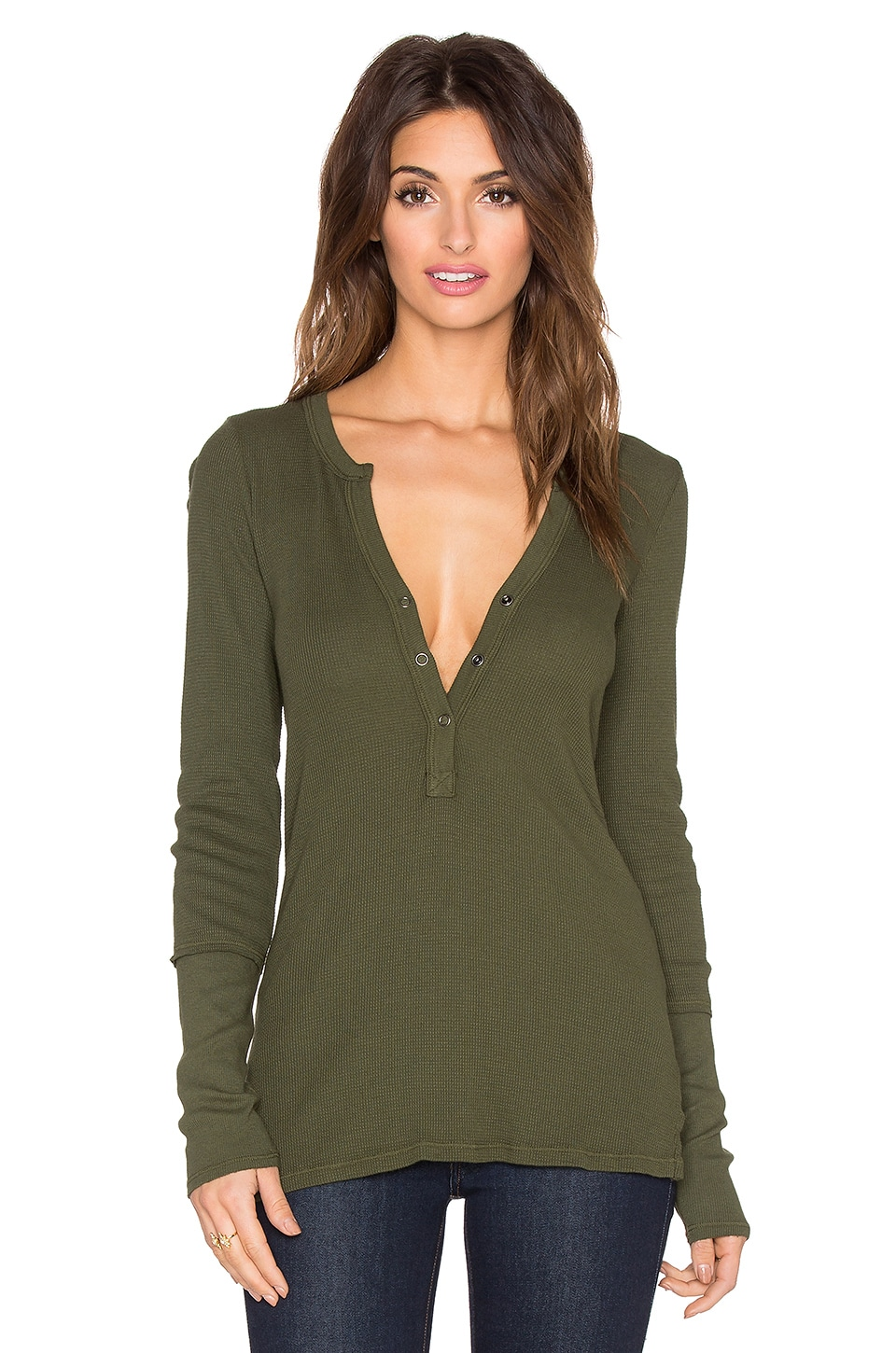 Michael Stars Thermal Long Sleeve Henley Tunic in Combat