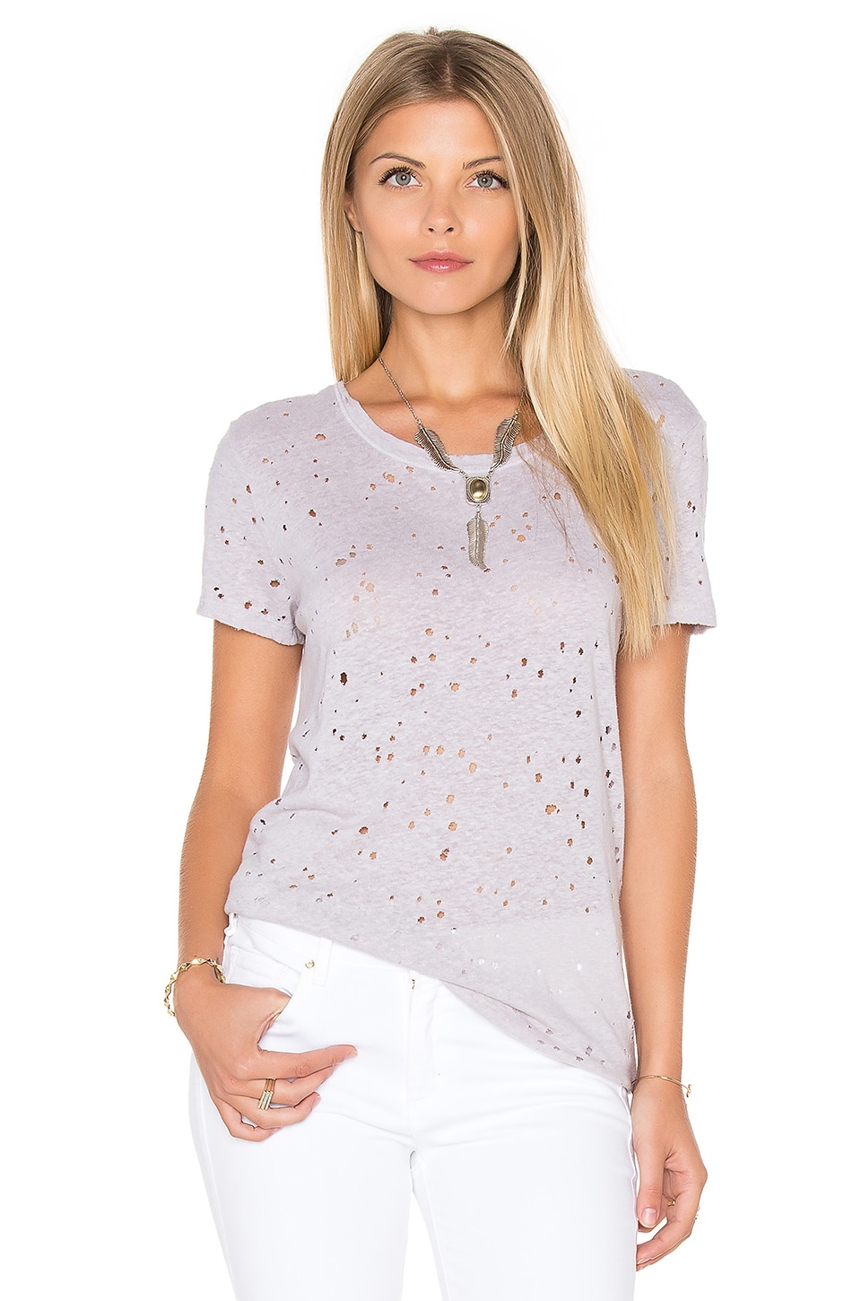 Ripped Texture Jersey Short Sleeve Crew Tee by Michael Stars