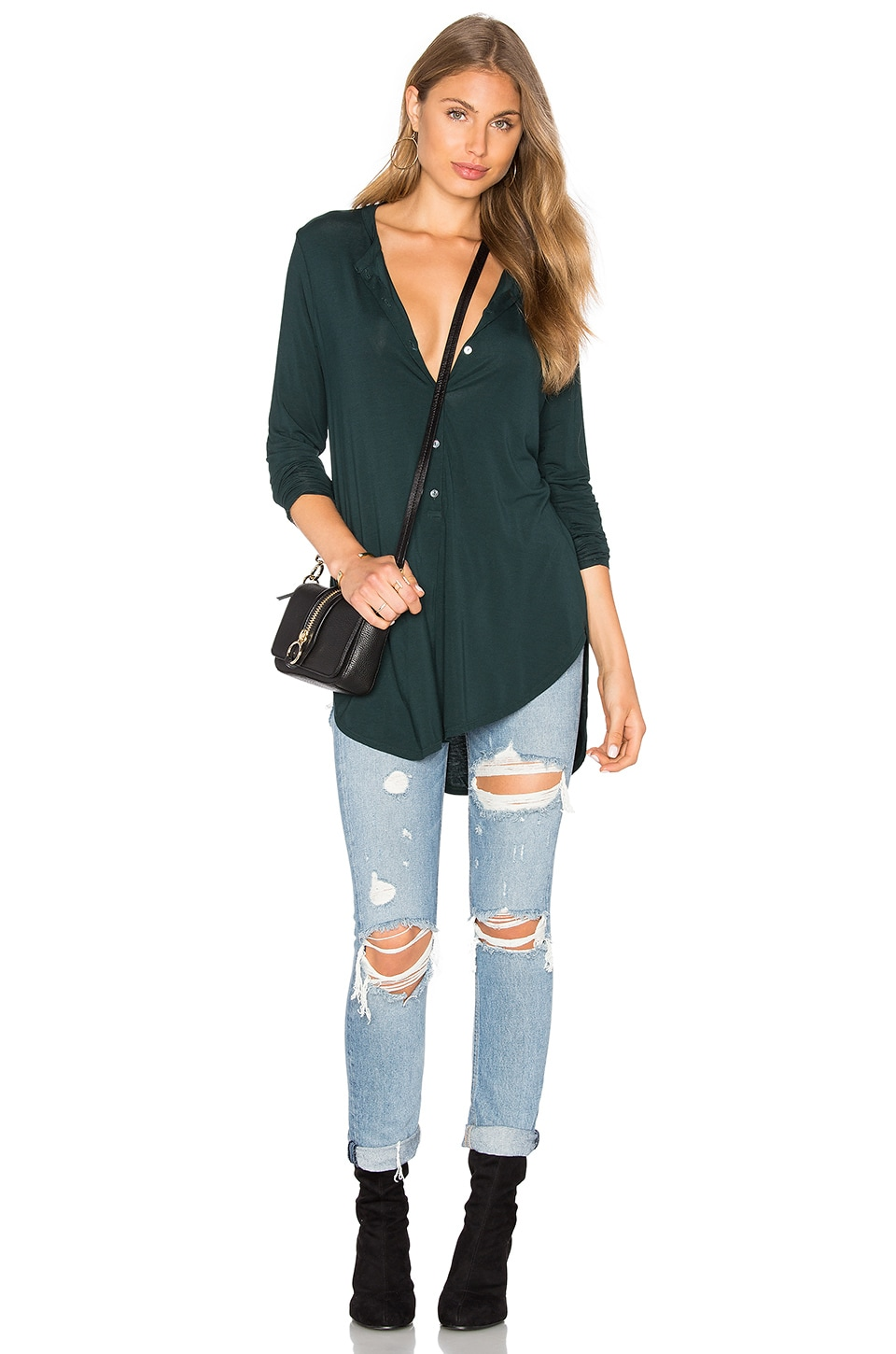 Long Sleeve Tunic Henley Top by Michael Stars