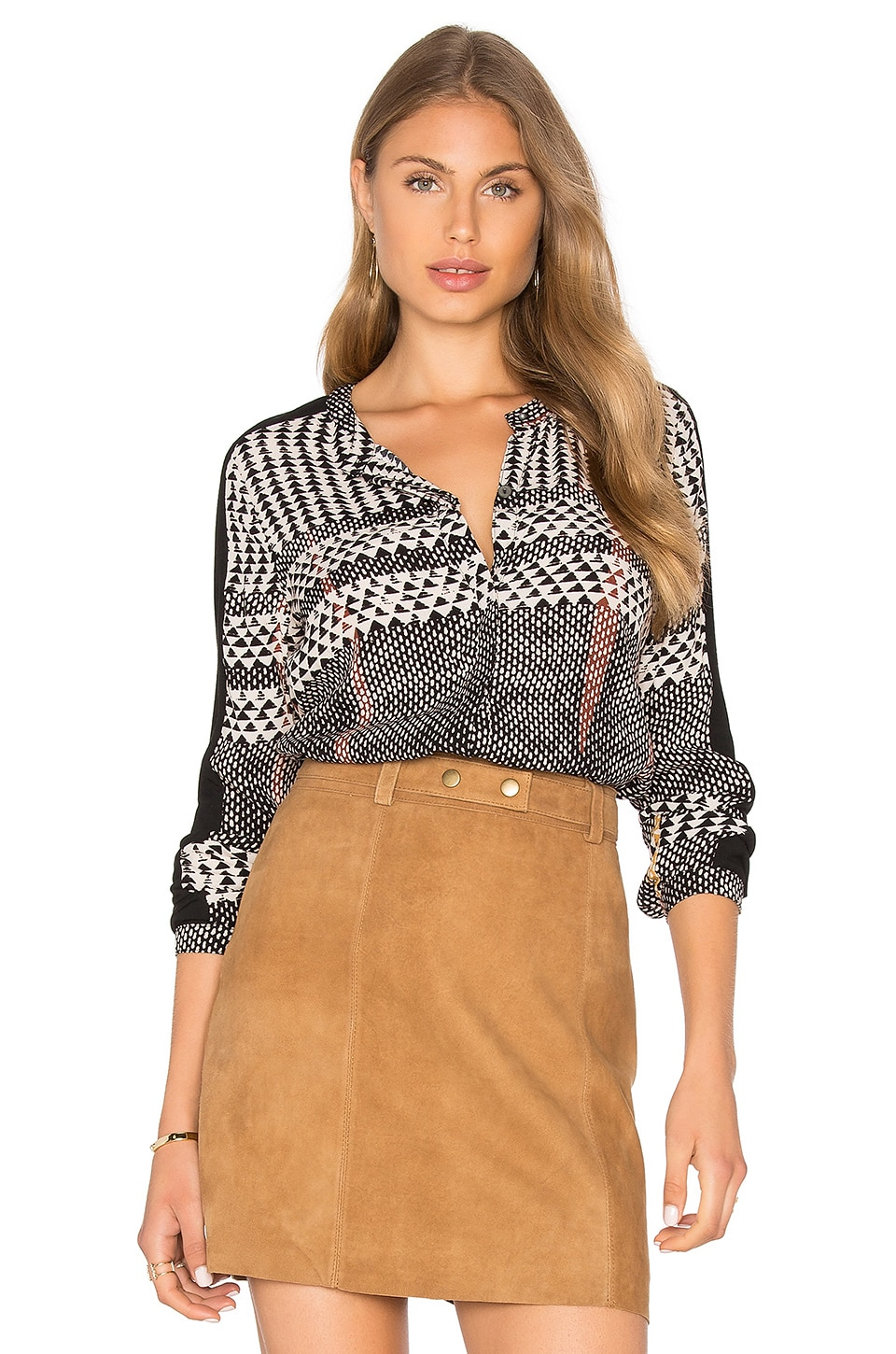 Long Sleeve Contrast Rib Sleeve Panel Button Up Shirt by Michael Stars