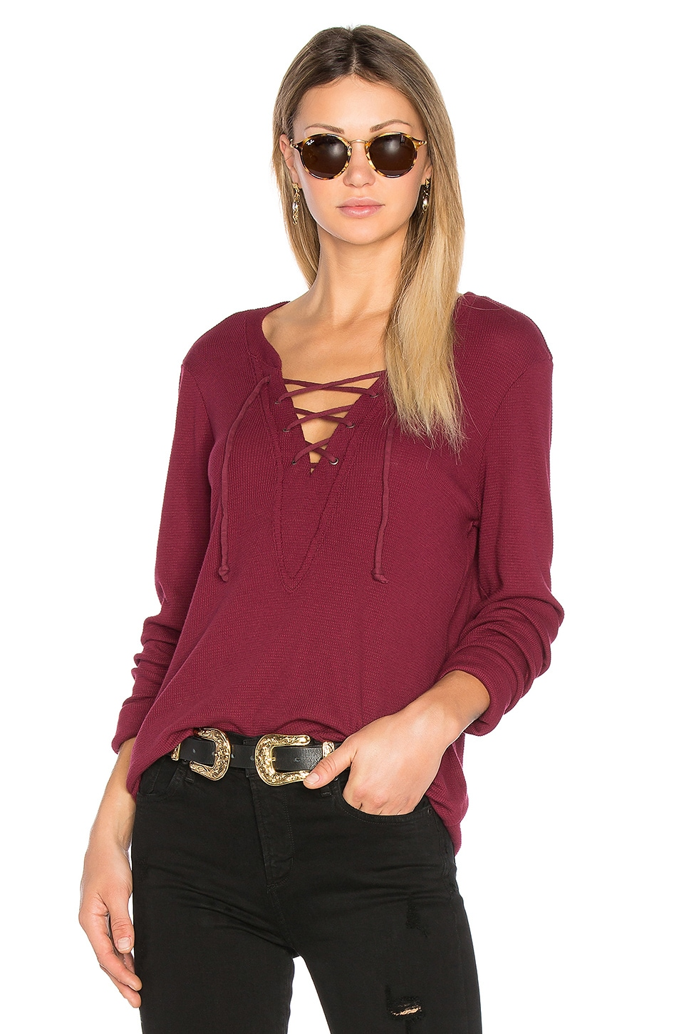 Long Sleeve Tie Neck Top by Michael Stars
