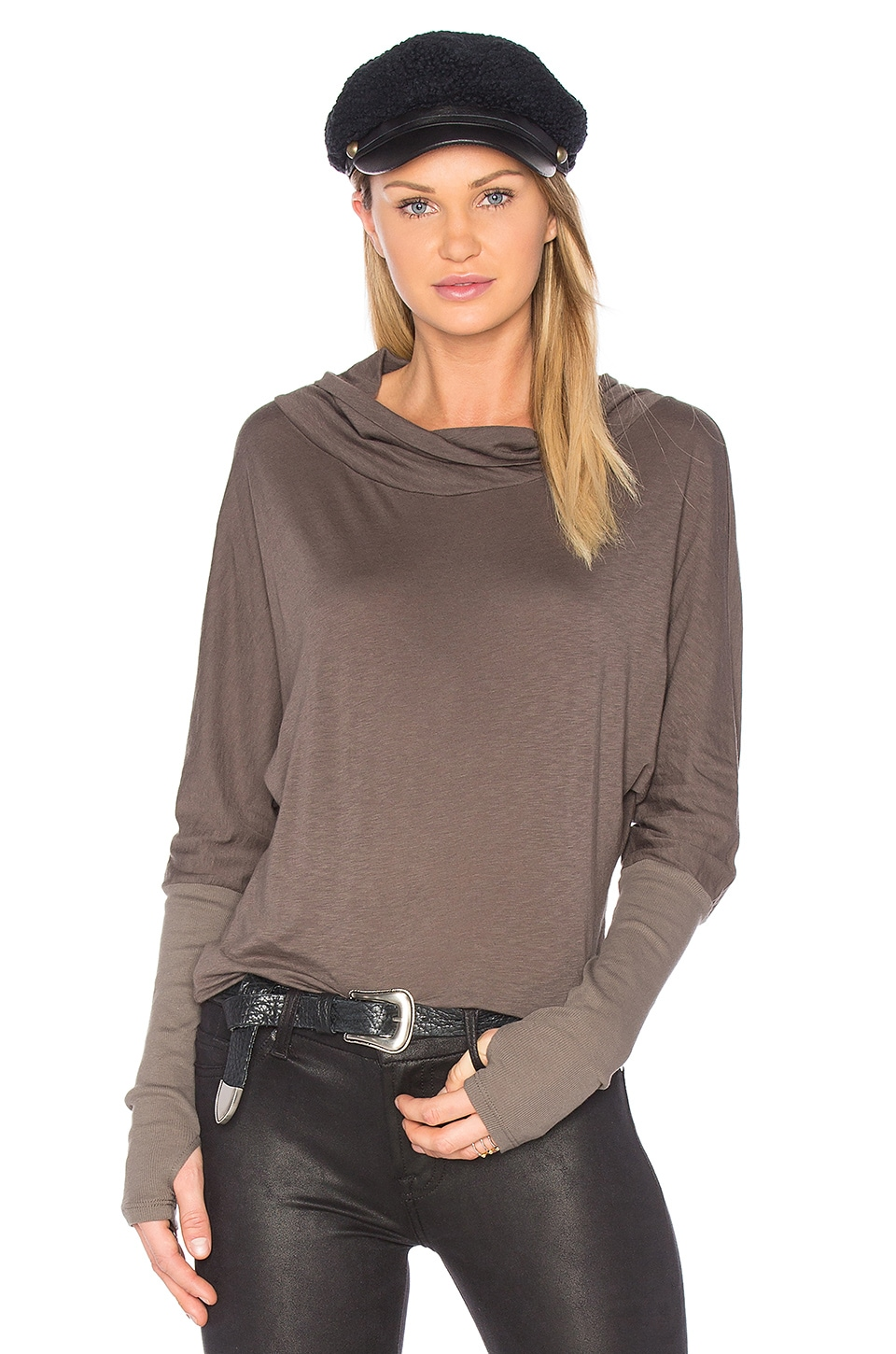 Luxe Slub Cowl Neck Top by Michael Stars