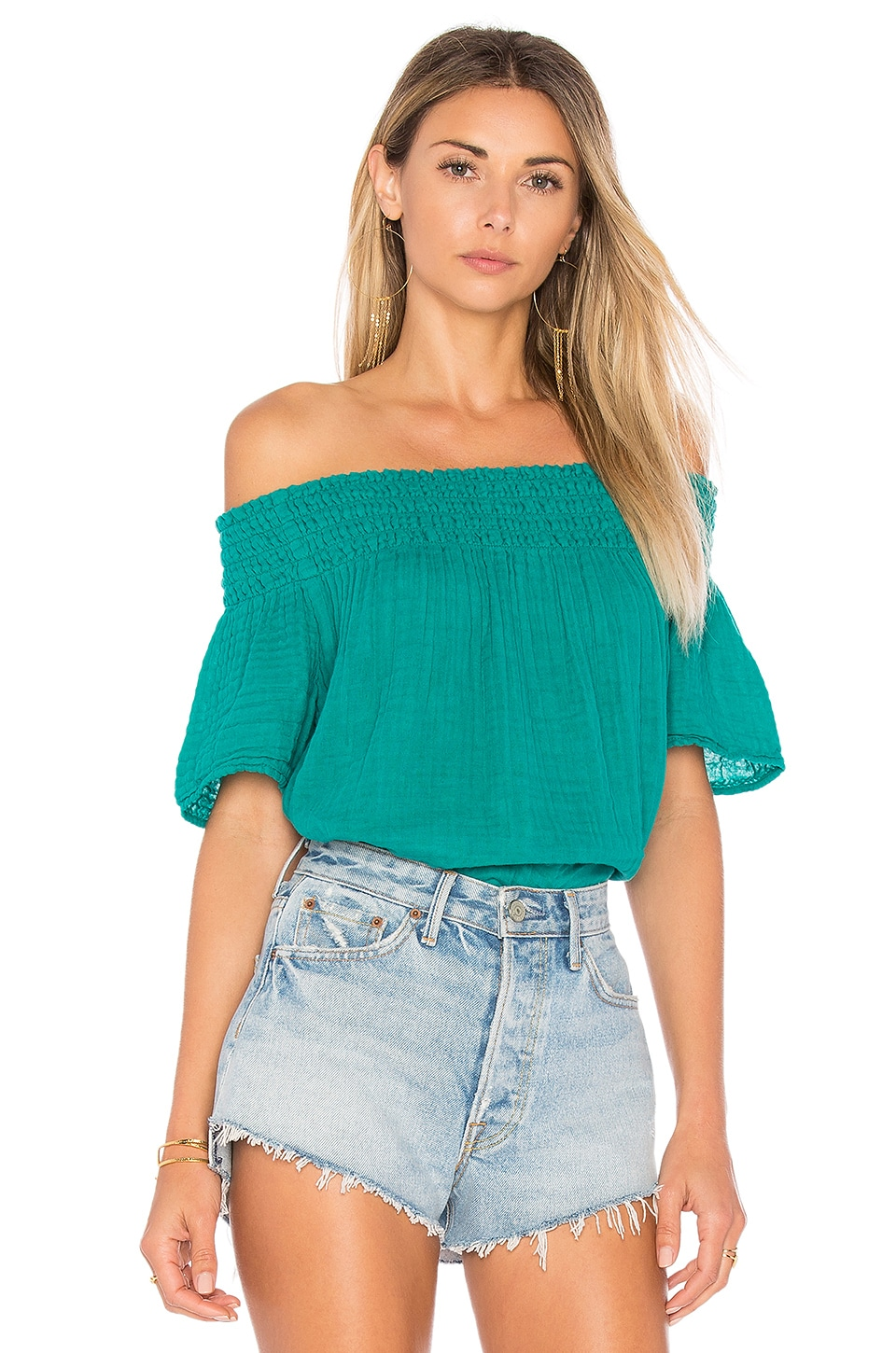 Smocked Off The Shoulder Top by Michael Stars