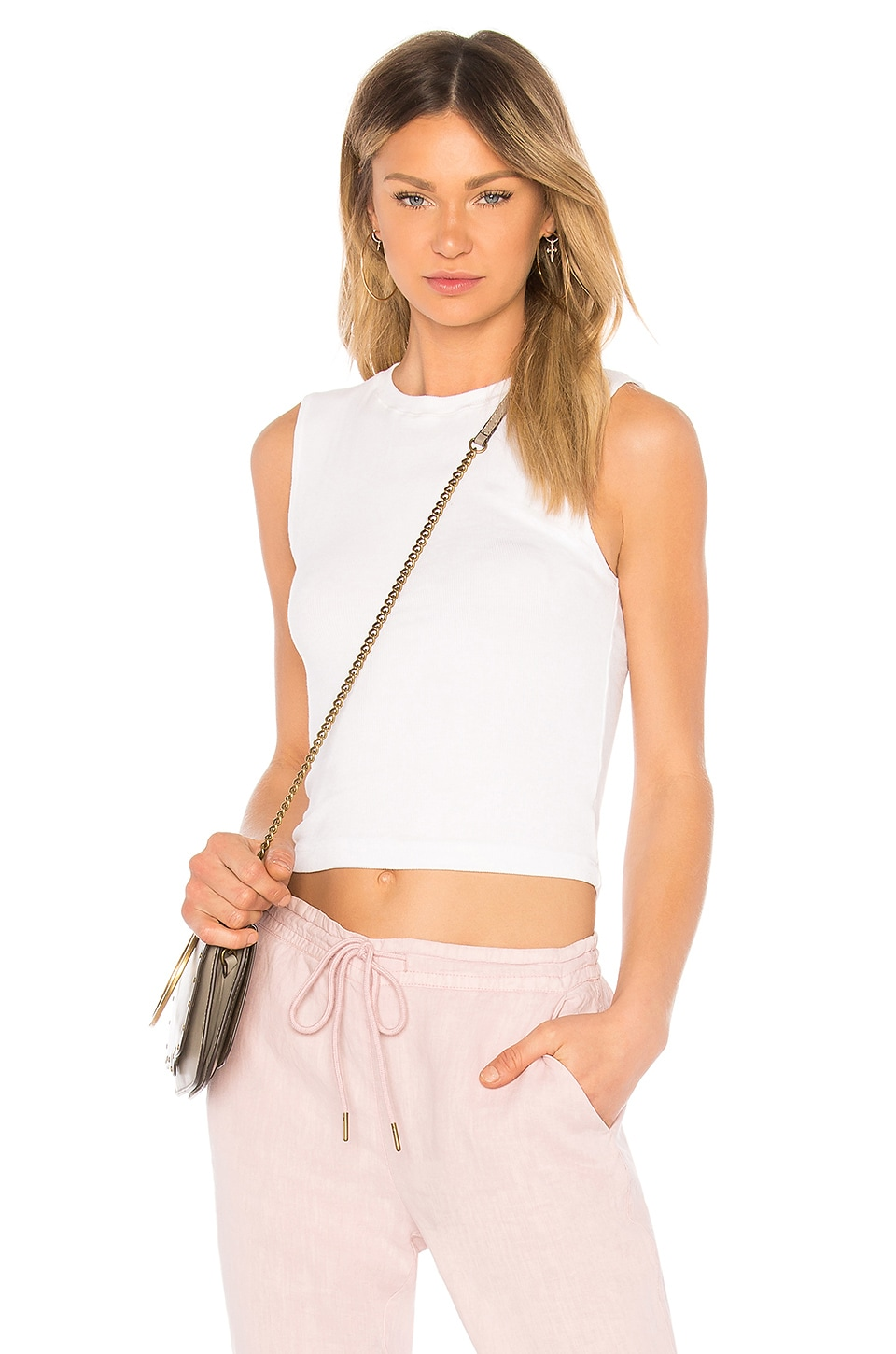Michael Stars Rib Crop Tank in White