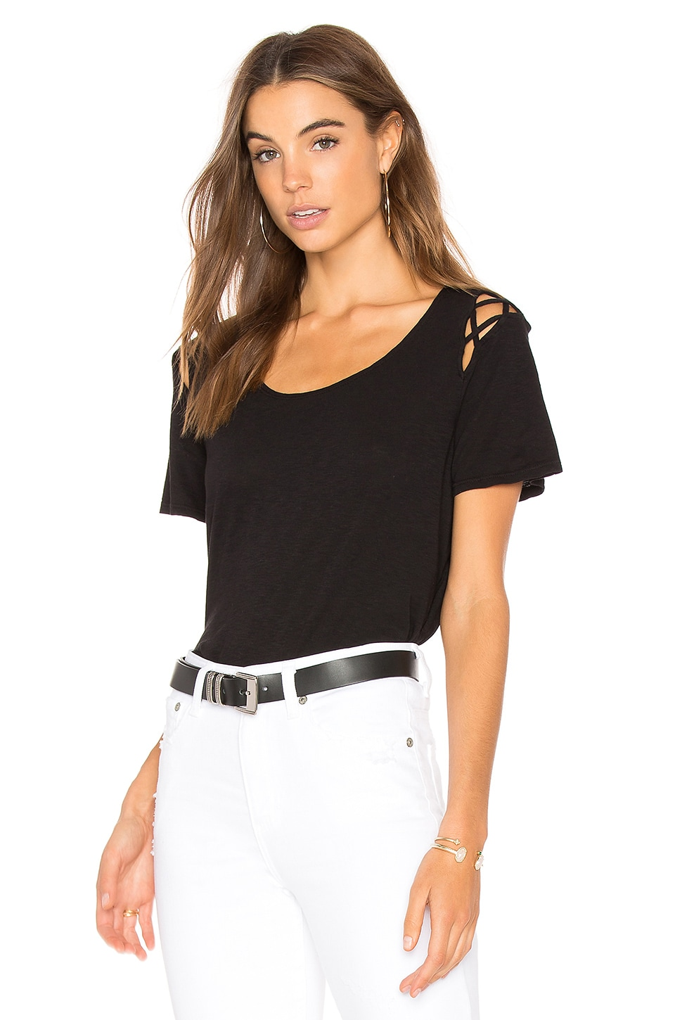Michael Stars Scoop Tee in Black