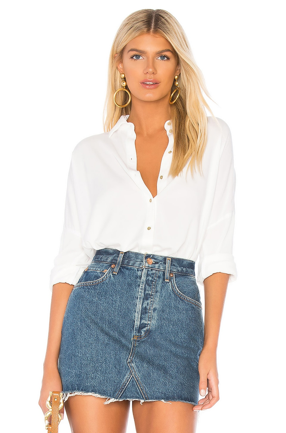 Michael Stars Boxy Button Up Shirt in White