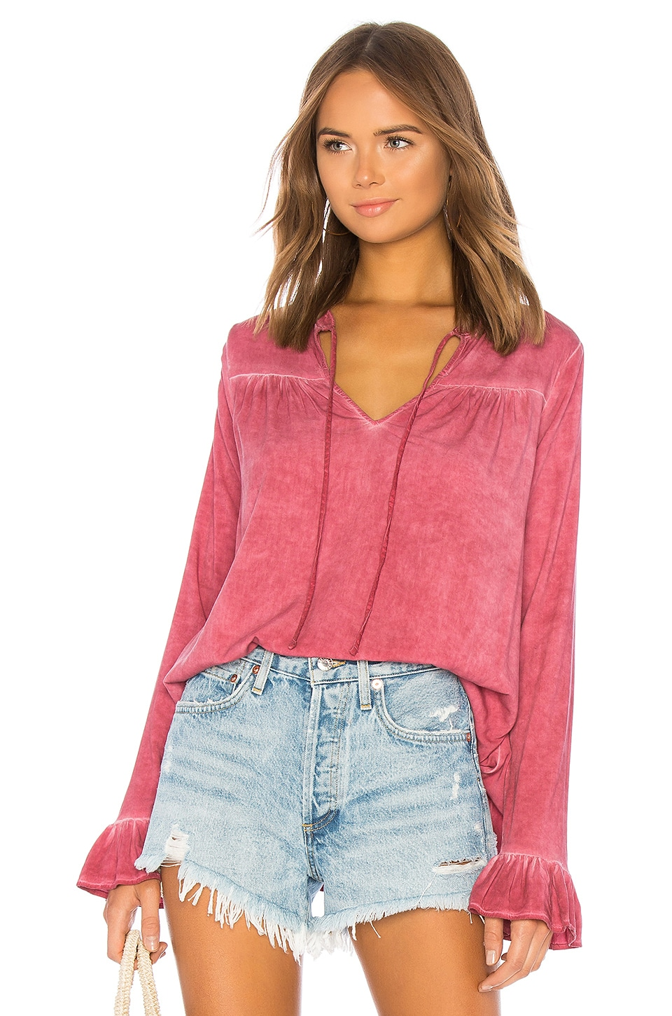 Michael Stars Ruffle Peasant Top in Mauve