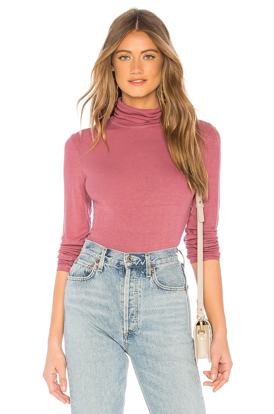 Michael Stars Long Sleeve Turtleneck in Rose Hips