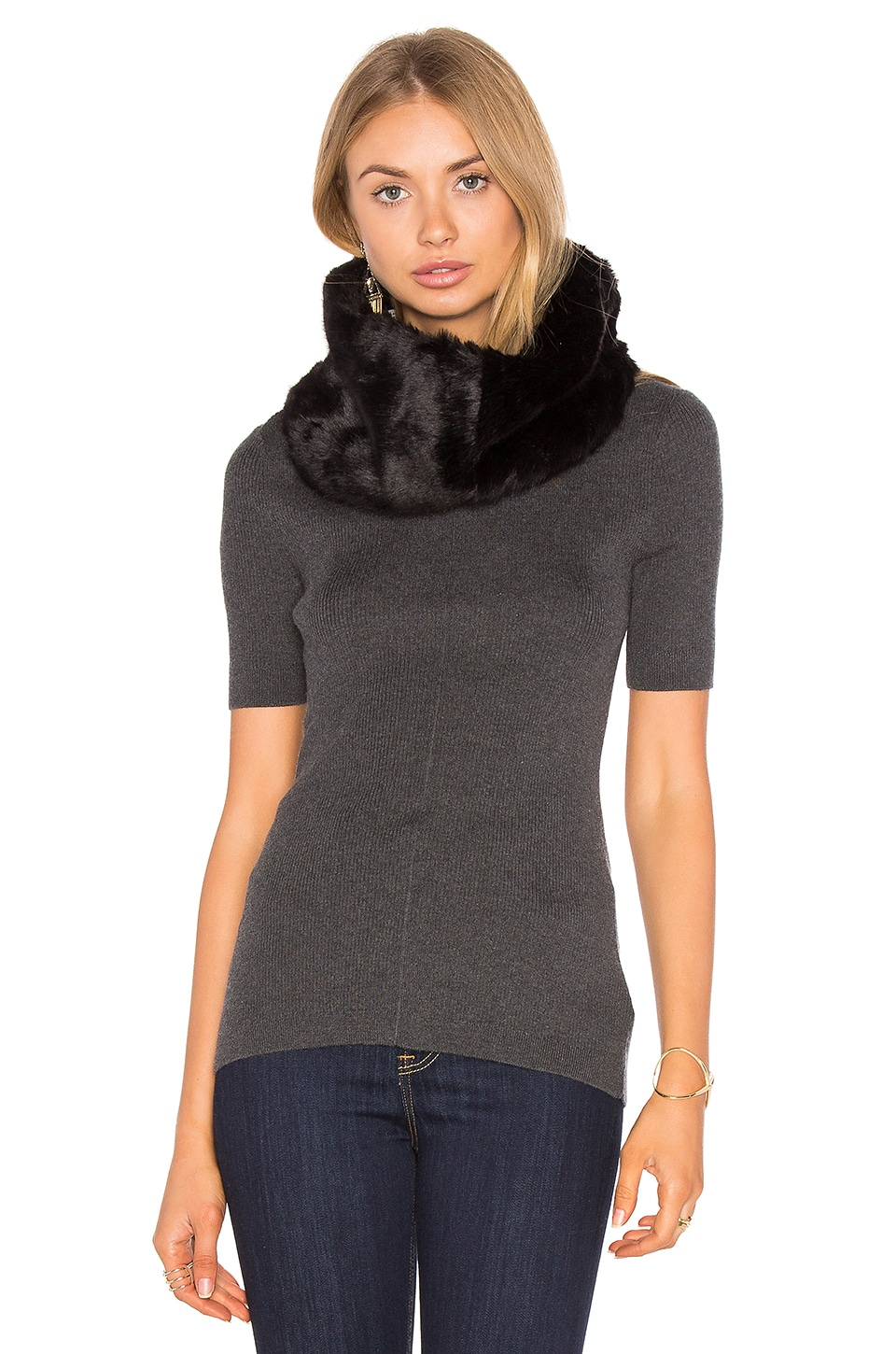 Michael Stars Faux Fur Cowl in Black
