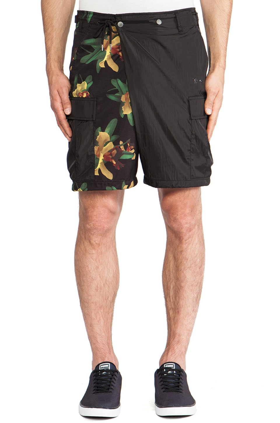 Puma by Mihara Performance Short Pants in Gothic Olive & Aloha Print