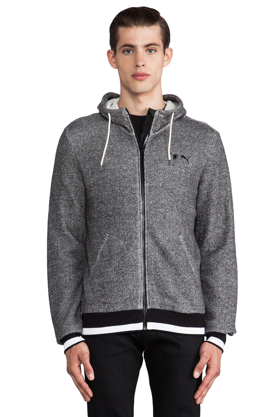 Puma by Mihara Hooded Sweat Jacket in Dark Gray Heather