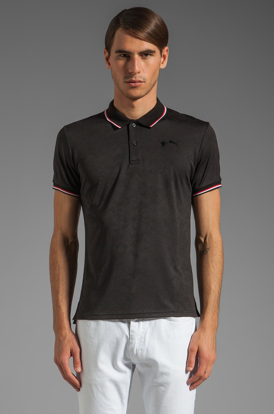 Puma by Mihara SS Jacquard Polo in Black