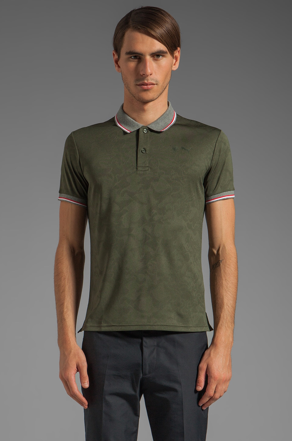 Puma by Mihara SS Jacquard Polo in Forest Night