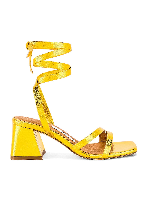 Miista Quima Sandal in Yellow Gold Metallic Leather