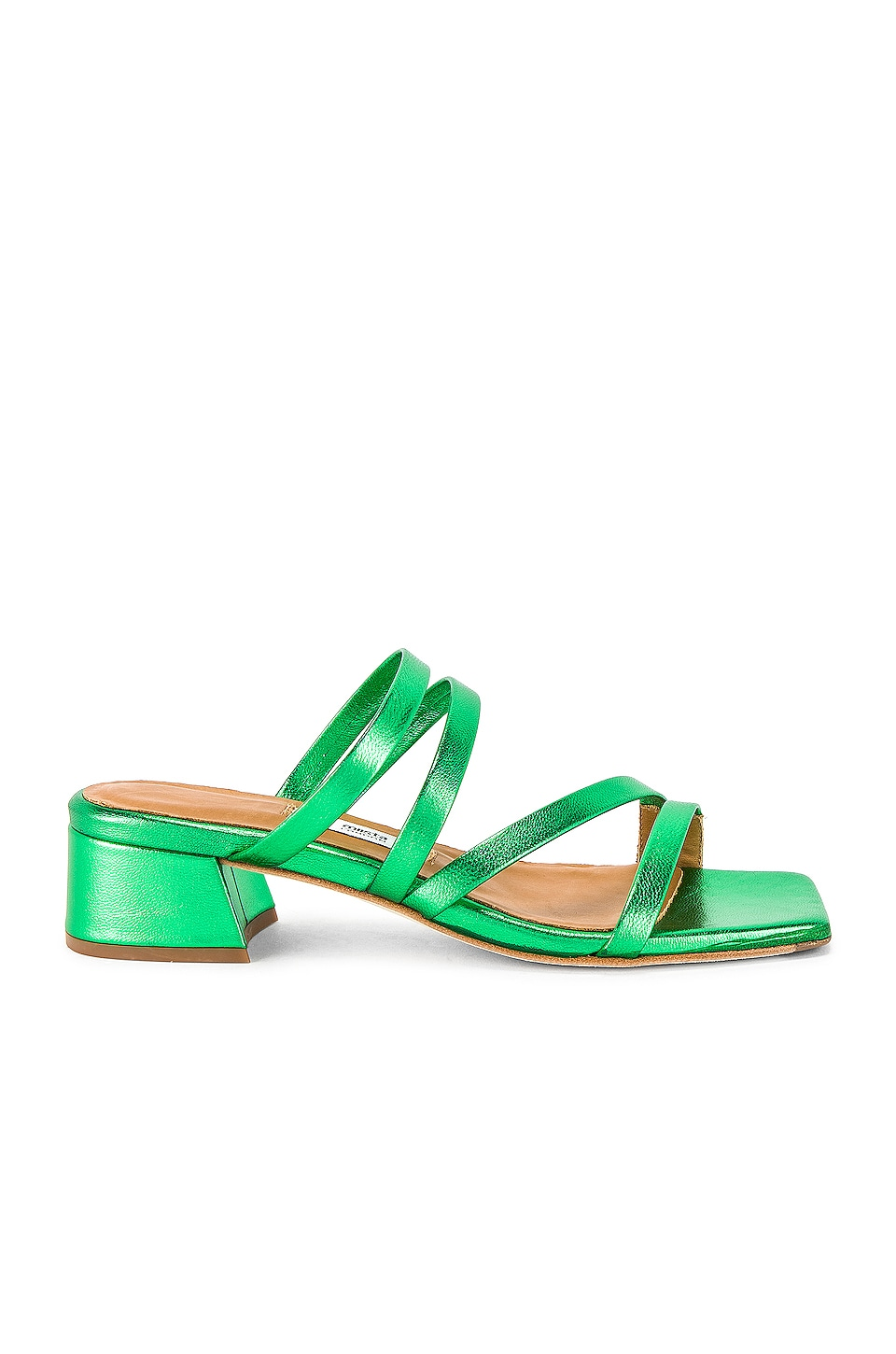 Miista Eva Sandal in Metallic Green Leather