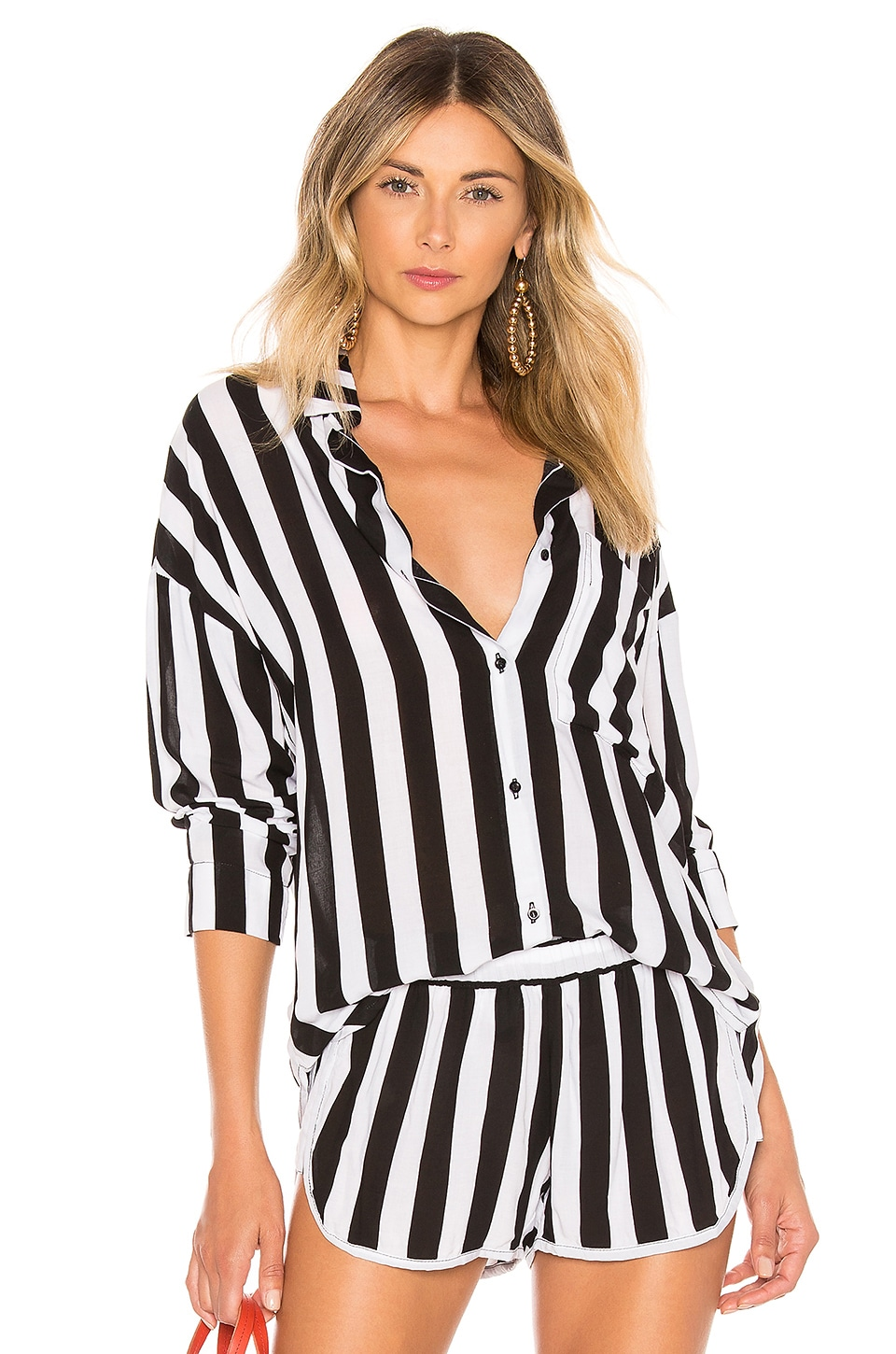 MIKOH Leahi Top en Retro Stripe Night