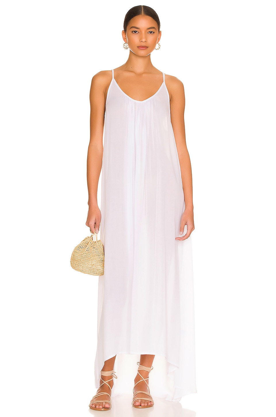 MIKOH Biarritz Low Back Maxi Dress in Foam