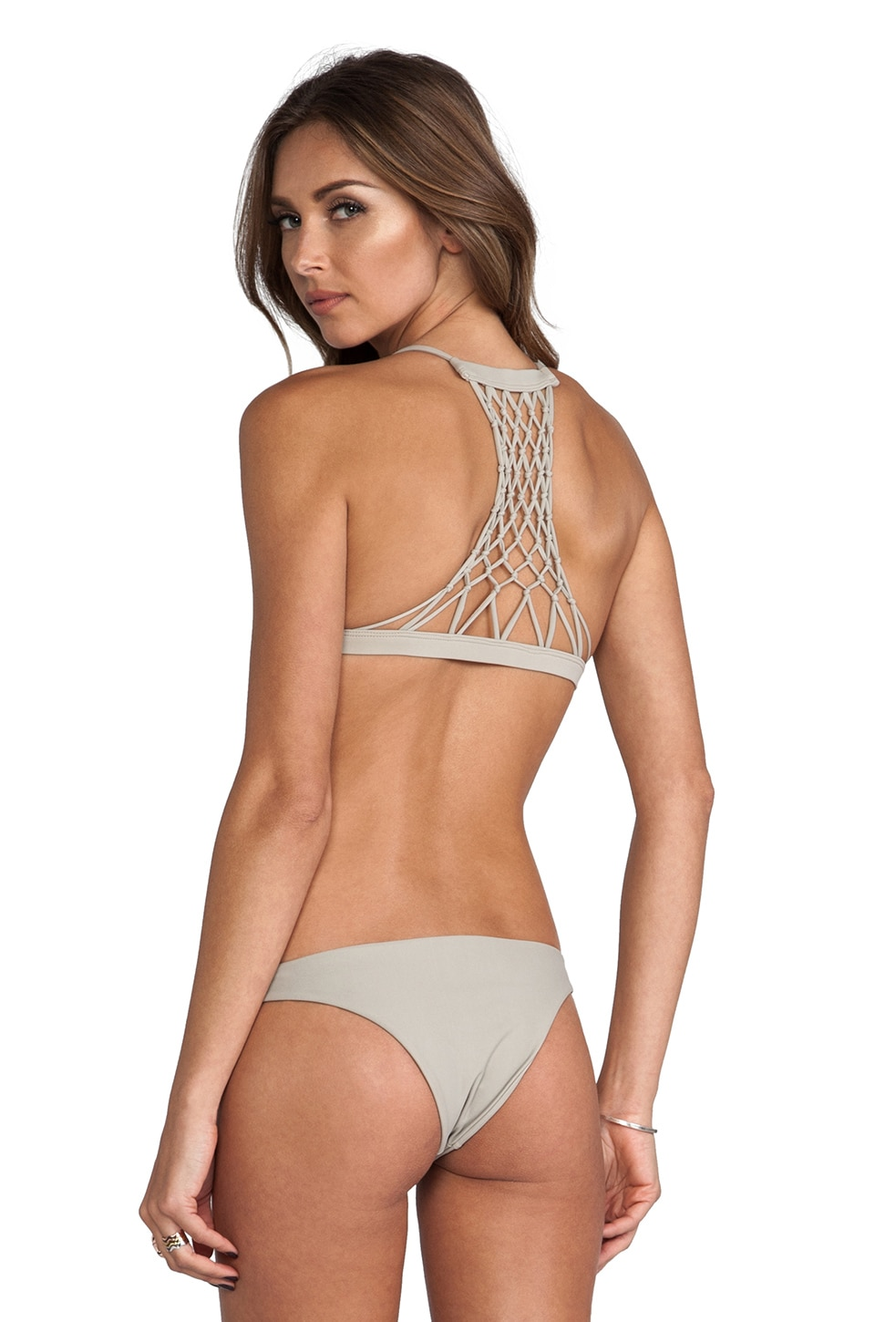 MIKOH Maui Crocheted Racerback Top in Coconut