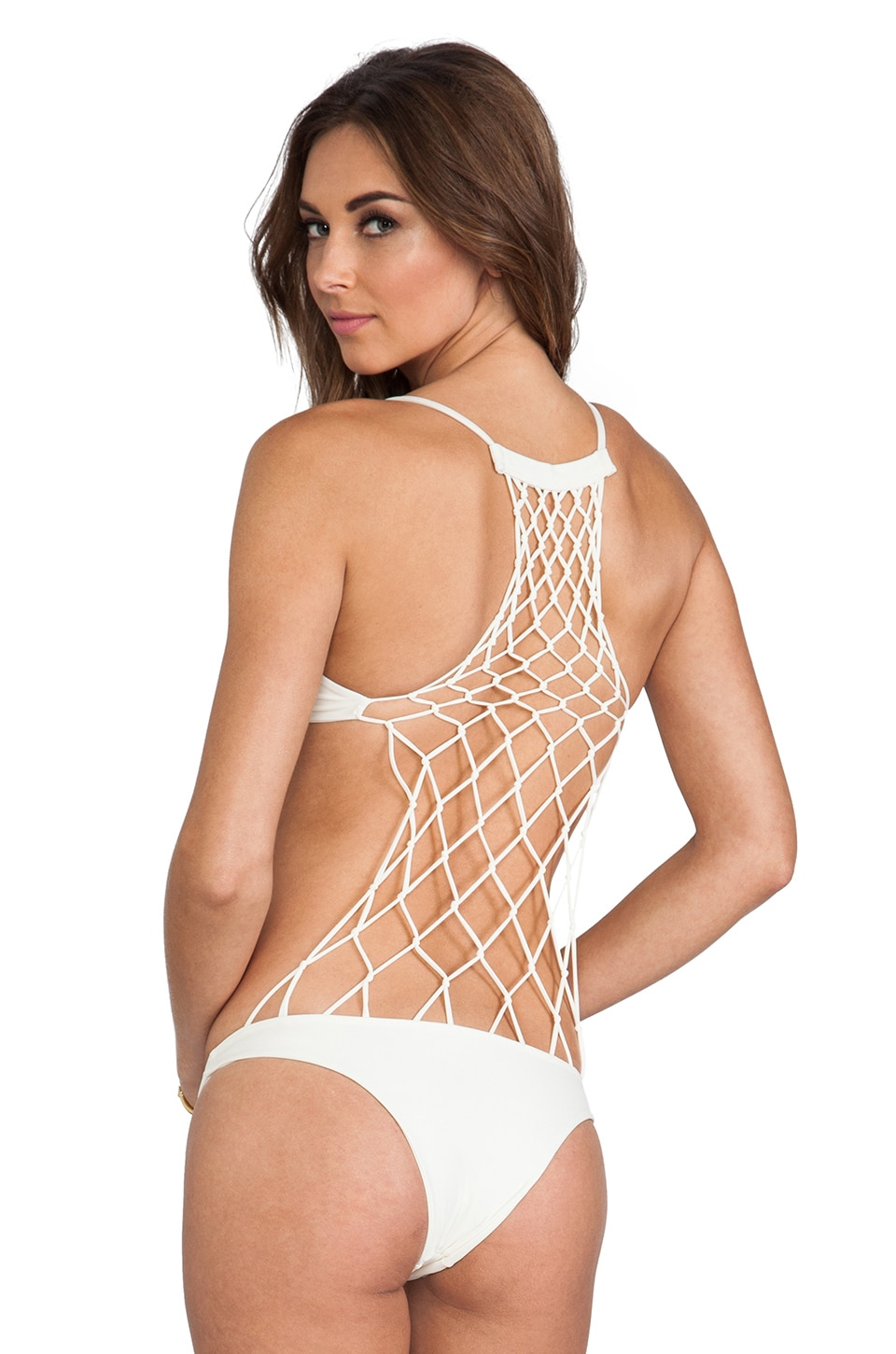 MIKOH Xavier Crochet One Piece in Bone