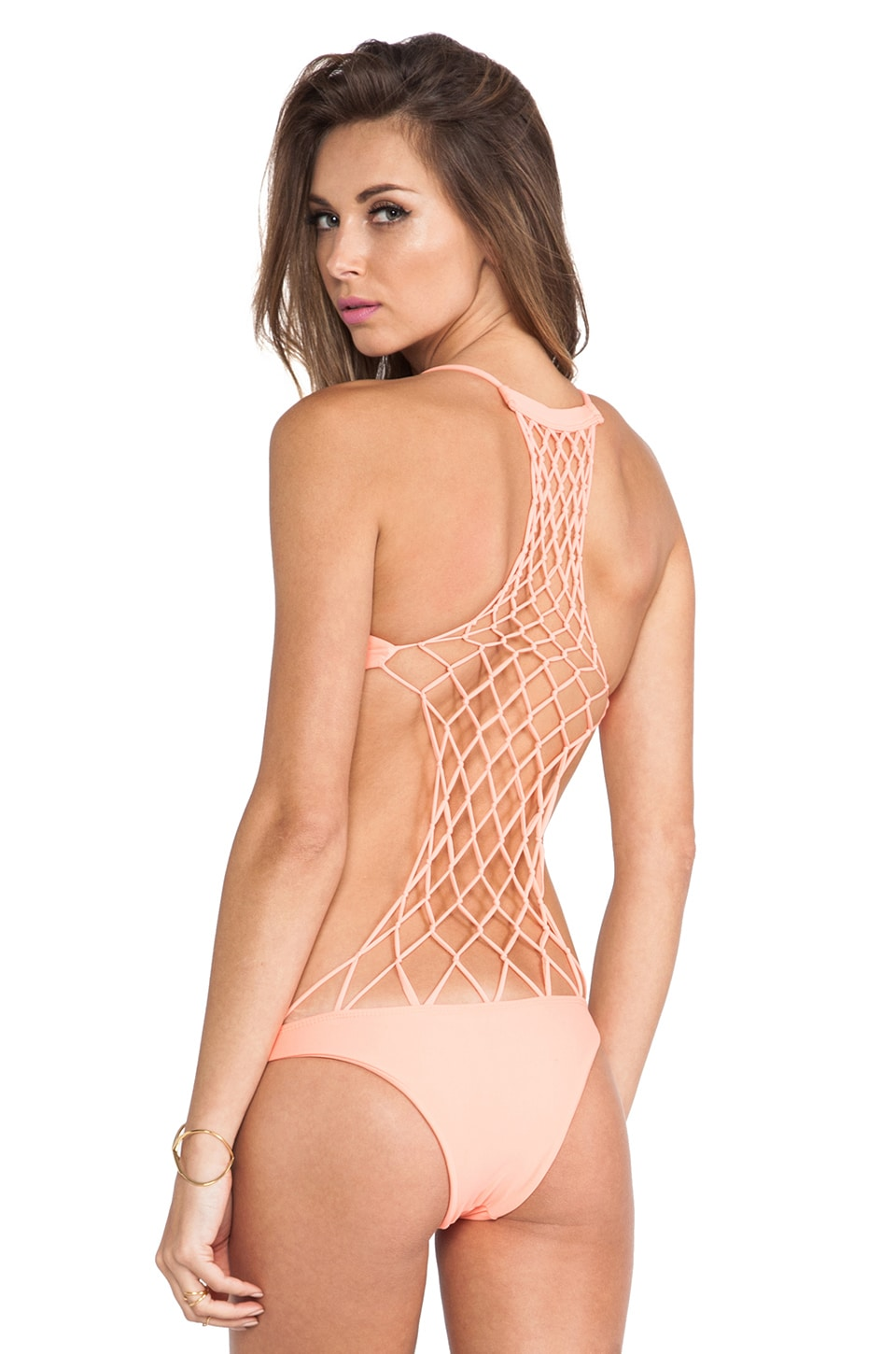 MIKOH Swimwear Xavier Crochet One Piece in Coral