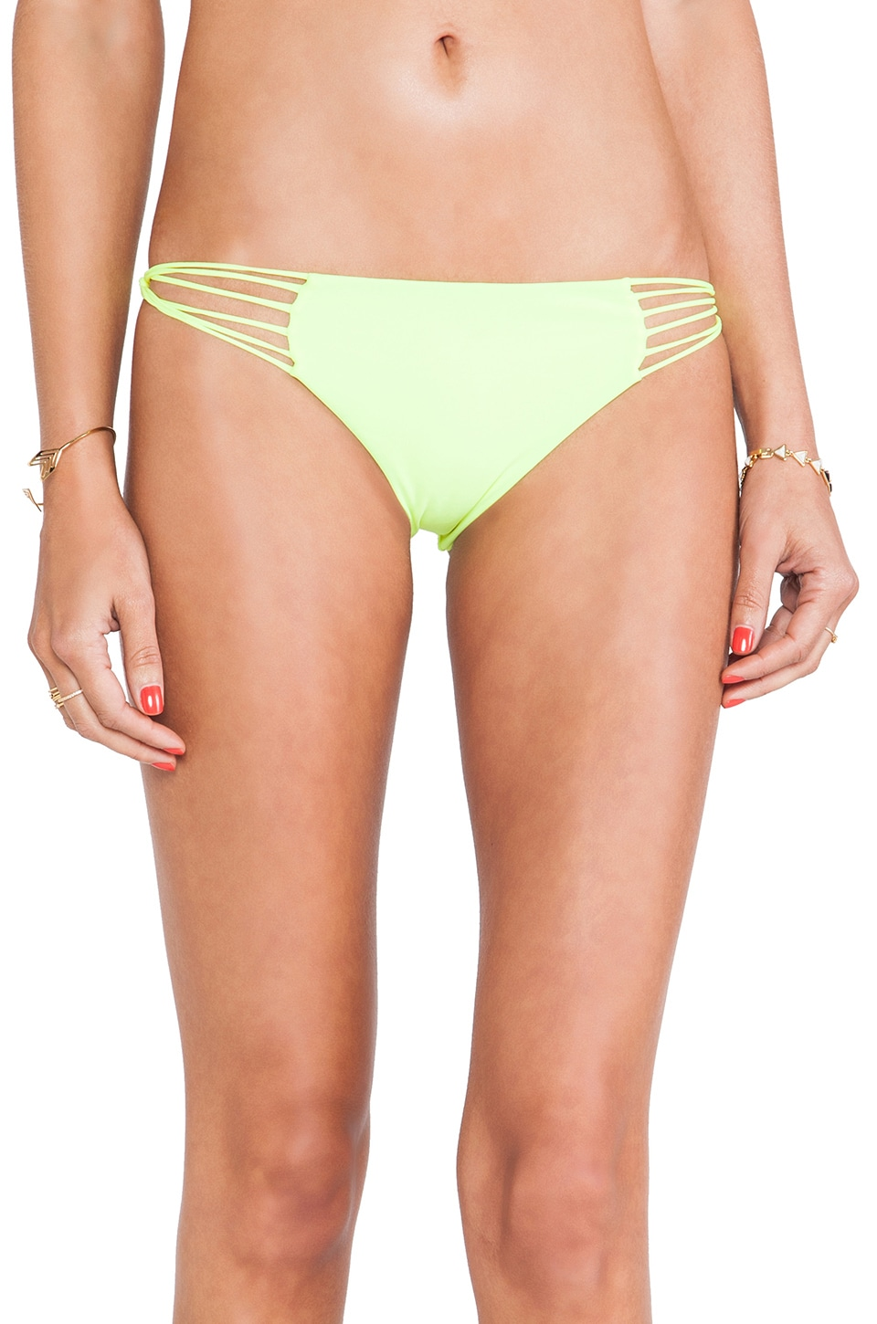 MIKOH Swimwear Lanai Multi String Loop Side Bottom in Fluro