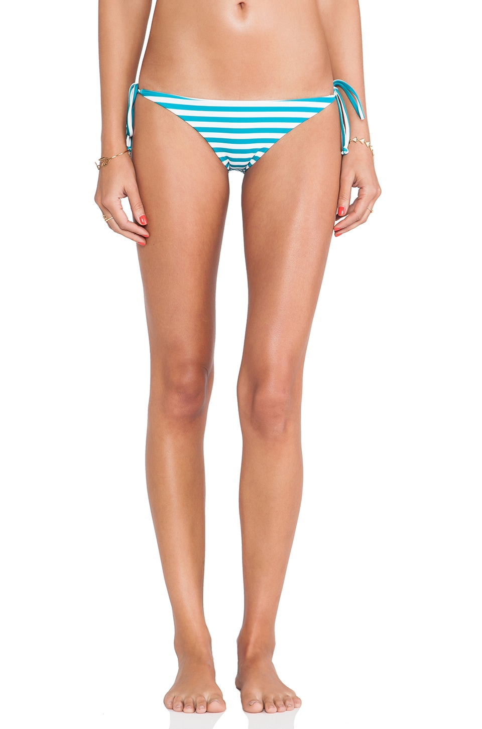 MIKOH Swimwear Venice Basic Tie Bottom in Caribbean Swell