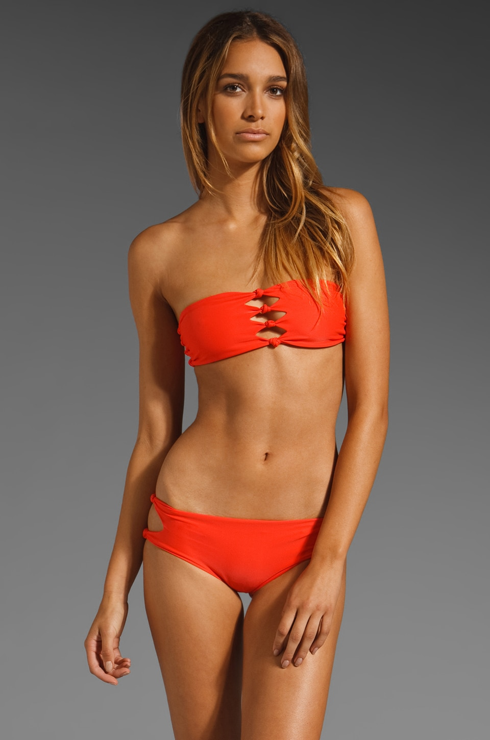 MIKOH Monaco Cut Out Bandeau in Coral