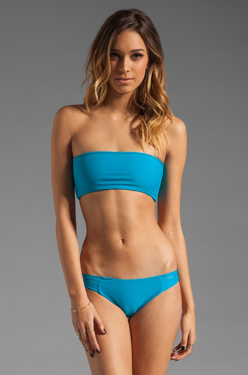 MIKOH Tropicana Skinny String Back Bandeau in Pacific