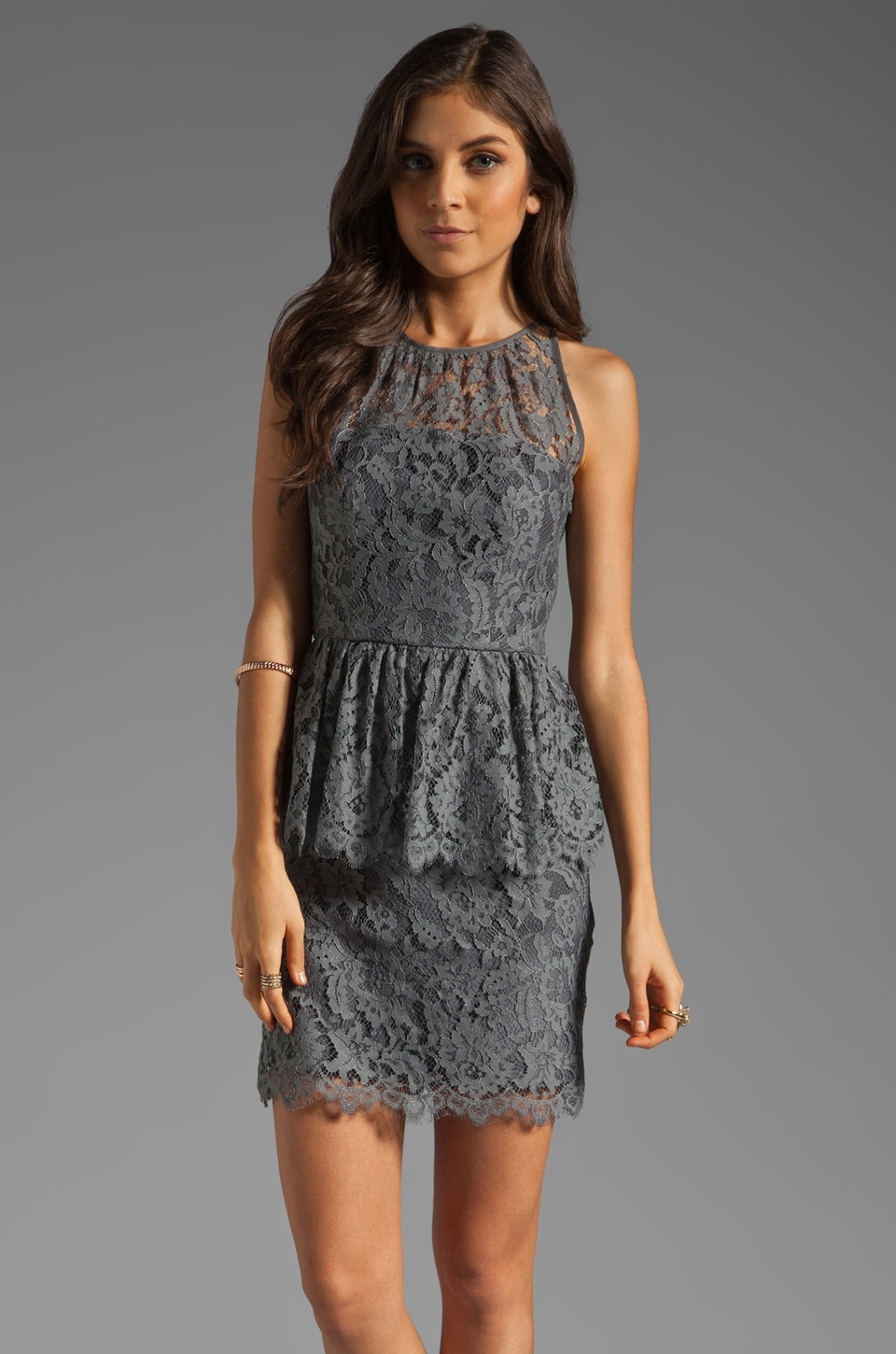 MILLY Floral Scallop Lace Liza Peplum Dress in Grey