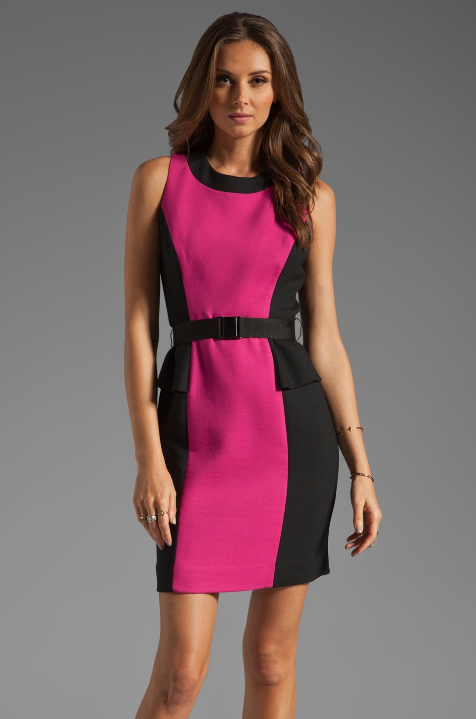 MILLY Doubleweave Olivia Belted Dress in Fuchsia