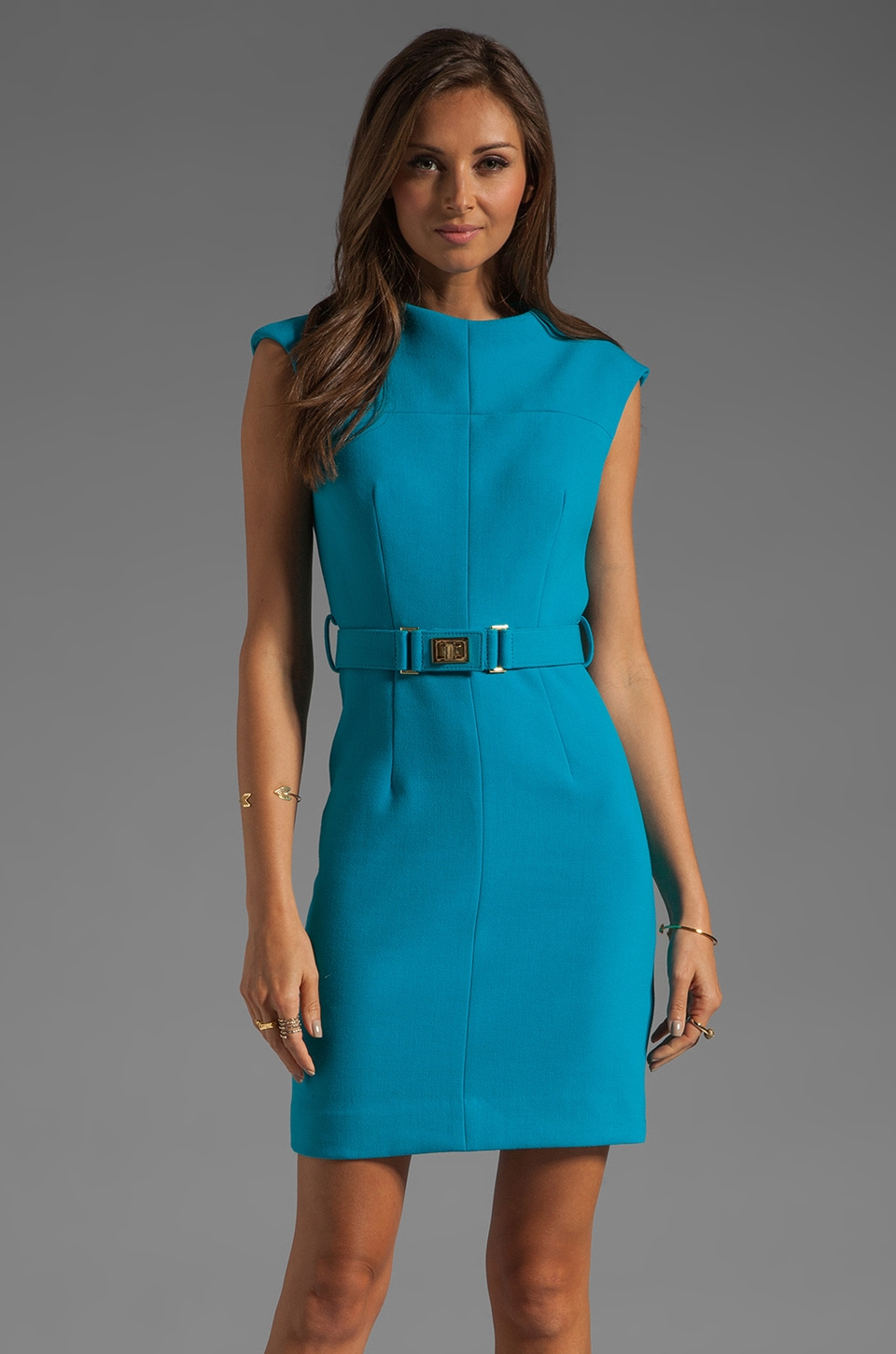 MILLY Doubleweave Crepe Daphnie Dress in Aqua