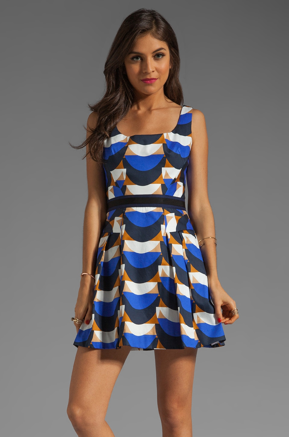 MILLY Scallop Print Isabelle Short Dress in Cobalt