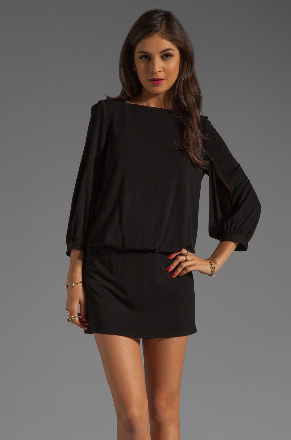 MILLY Italian Matte Jersey Carmela Dress in Black