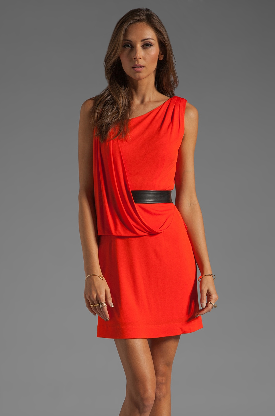 MILLY Italian Matte Jersey Iris Dress in Persimmon
