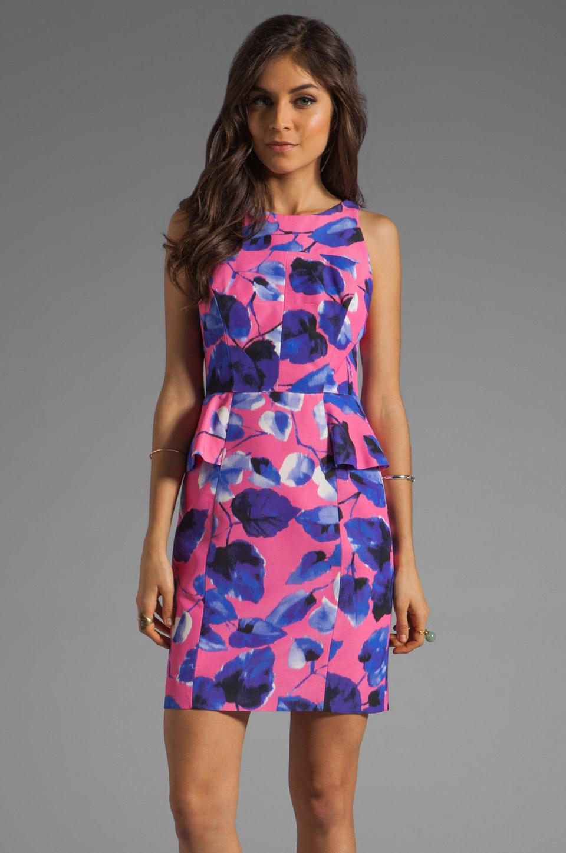 MILLY Ivy Print on Silk Cotton Faille Peplum Sheath Dress in Shocking Pink