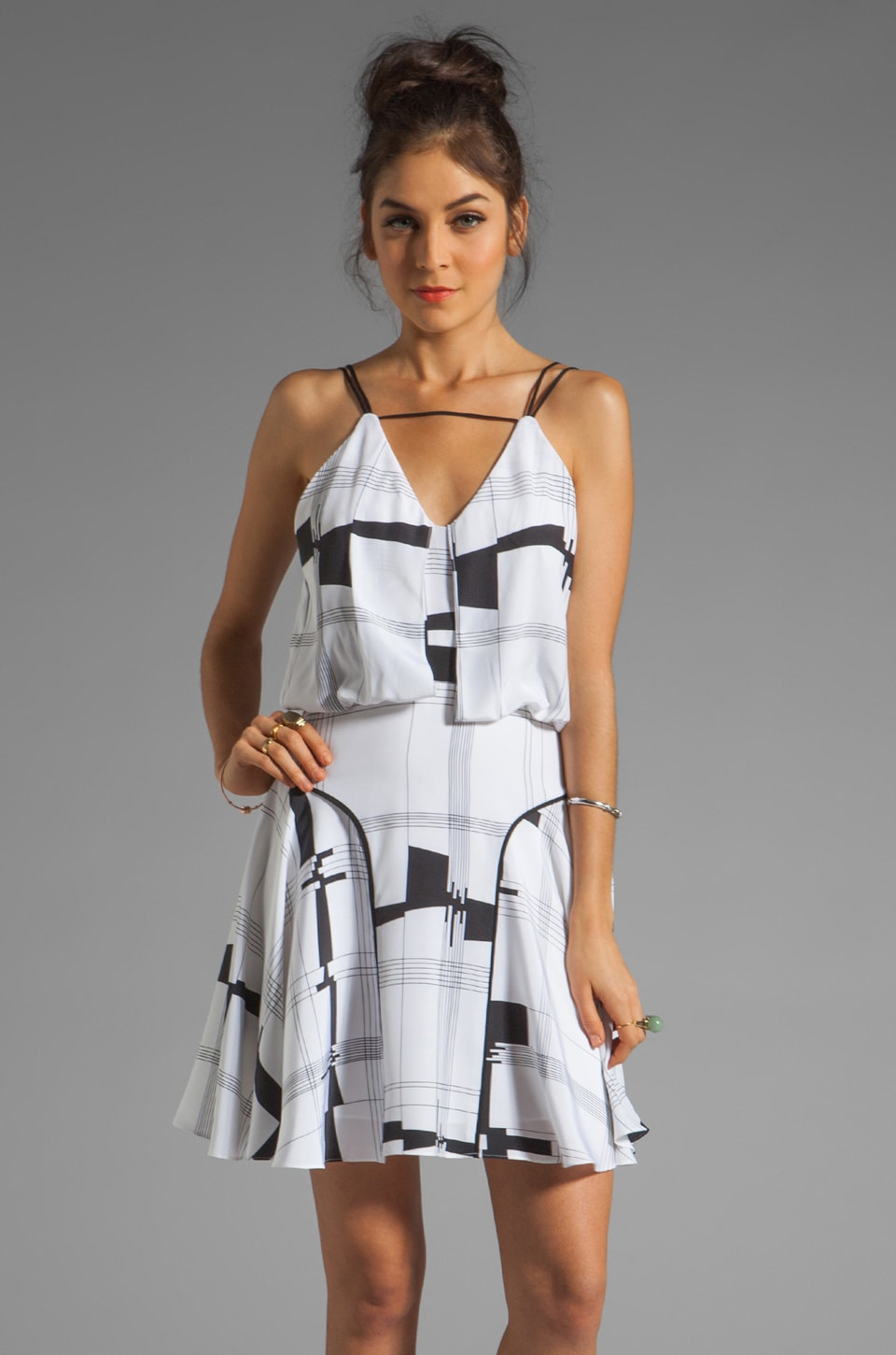 MILLY Cityscape Print on Silk Bar-Tank Dress in Black